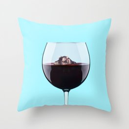 Hippo in Wine Throw Pillow
