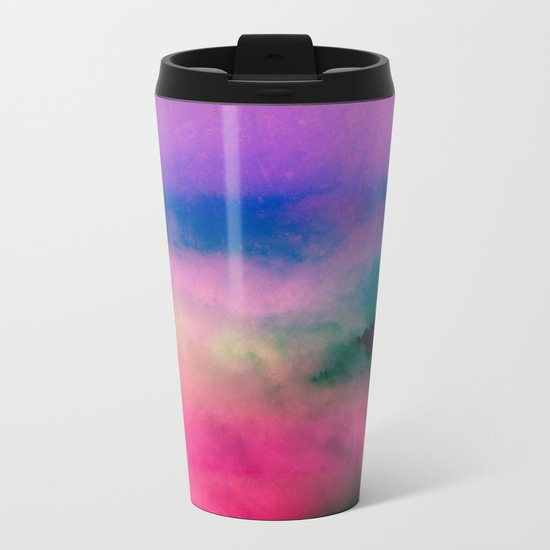 Fog Forest Mountain - Pink Rainbow Northern Lights Metal Travel Mug