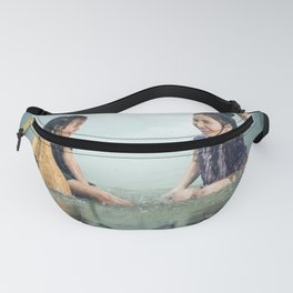 Woman and Girl in a Pond in the Rain Fanny Pack