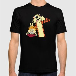 Calvin & Hobbes T-shirt Tiger and a Boy funny comics fan Youth Adult toddler size Tee Shirts T-shirt