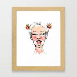 Happy Halloween Pumpkin Hair Buns Framed Art Print