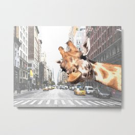 Selfie Giraffe in New York Metal Print