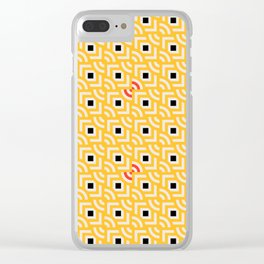 Round Pegs Square Pegs Yellow Clear iPhone Case