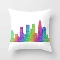 los angeles Throw Pillows featuring Los Angeles by David Zydd