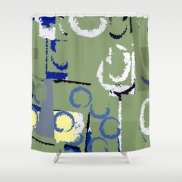 Olive Rose Abstract Field Shower Curtain