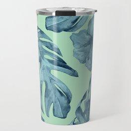 Tropical Leaves and Flowers Luxe Ocean Teal Blue Pastel Green Travel Mug