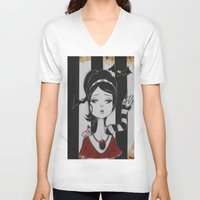 lydia martin V-neck T-shirts featuring Lydia by Art of Lety Reyes