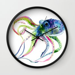 Blue Rainbow Octopus Wall Clock