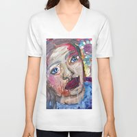 river V-neck T-shirts featuring River by S.Queimado-Lima