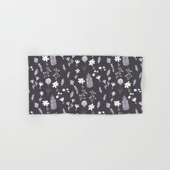 Dark Pastel Violet Flower Pattern Hand & Bath Towel