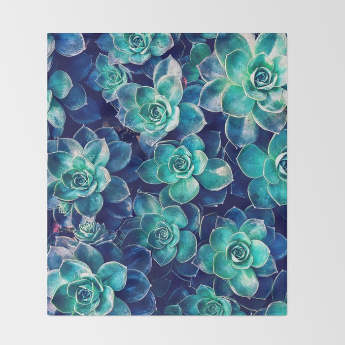Plants of Blue And Green Throw Blanket