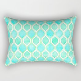 Watercolor Pattern in Aqua, Lime & Mint on White Rectangular Pillow