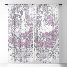 Sexy Woman zombie WITH Flower - KOBI Sheer Curtain
