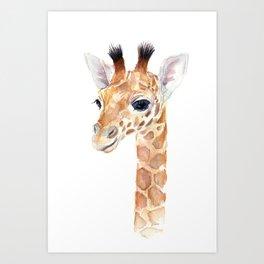 Baby Giraffe Cute Animal Watercolor Art Print