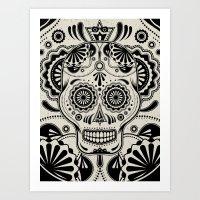 Sugar Skull Art B&W Art Print
