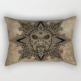 Ancient Stone Mayan Sun Mask Rectangular Pillow