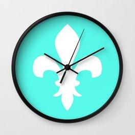 Fleur de Lis (White & Turquoise) Wall Clock