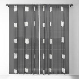 Polka Strokes Gapped - Off White on Black Sheer Curtain