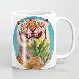 Smiling (shy) Tiger - holding bouquet (tulip) Coffee Mug