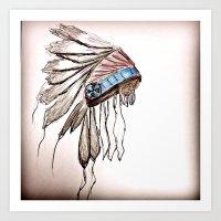 headdress Art Prints featuring headdress by Sabrina Shai