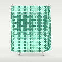 Jade and White Greek Key Pattern Shower Curtain