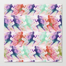 Watercolor women runner pattern with red mint and dark purple Canvas Print