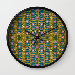gold jungle and paradise liana flowers Wall Clock