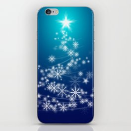 Whimsical Glowing Christmas Tree with Snowflakes in Blue Bokeh iPhone Skin