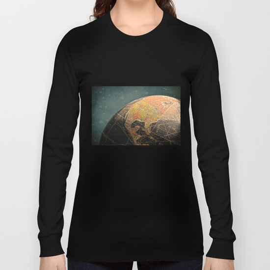 Where I Am (Vintage Globe) Long Sleeve T-shirt