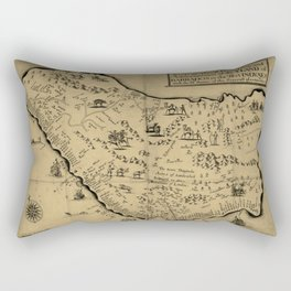 Vintage Barbados Pictorial Map (1657) Rectangular Pillow