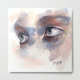 Eye study, watercolor illustration (splatters) Metal Print