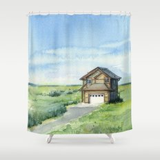 Beach House Landscape Watercolor | Long Beach, WA Shower Curtain