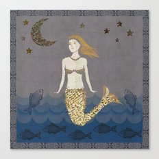 Mermaid At Dusk Canvas Print