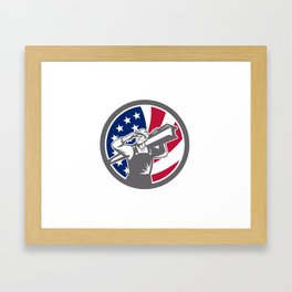 American Construction Worker USA Flag Icon Framed Art Print