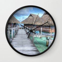 Bora Bora Bungalows Wall Clock