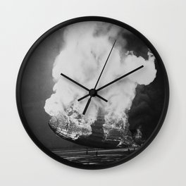 Hindenburg in flames Wall Clock
