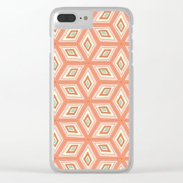 Living Coral Tilted Cubes Pattern Clear iPhone Case