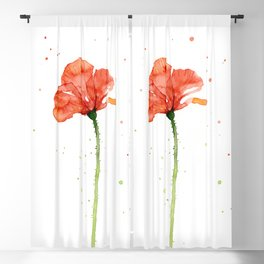Abstract Red Poppy Flower Blackout Curtain