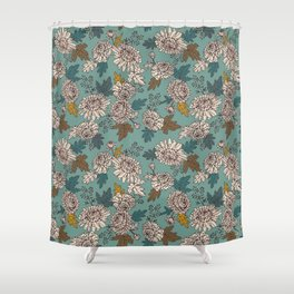 Turquoise flowers Shower Curtain