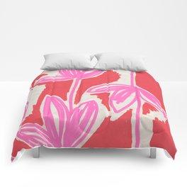 Red and Pink Sketchbook Botanical Comforters