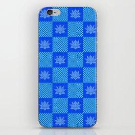 Retro Blue Lotus Checkerboard iPhone Skin