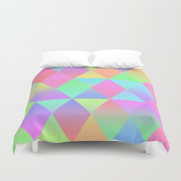 Colorful Geometric Pattern Prism Holographic Foil Triangle Texture Duvet Cover
