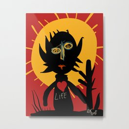 Life is a little man under the sun in a red sky African Art Metal Print