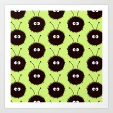 Green Cute Dazzled Bugs Pattern Art Print