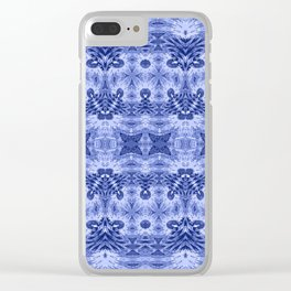 Blue and White Classic Psychedelic Subtle Print Clear iPhone Case
