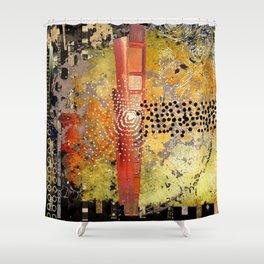 Orange Gold Burst Abstract Art Collage Shower Curtain