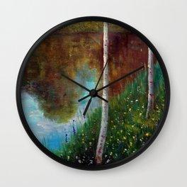 White Birch Trees, Flowers & Pond landscape by Gustav Klimt Wall Clock