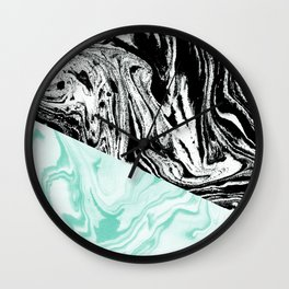 Spilled ink marble black and white mint trendy suminagashi japanese paper marbling Wall Clock