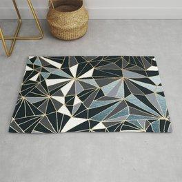 Stylish Art Deco Geometric Pattern - Black, blue, Gold #abstract #pattern Rug