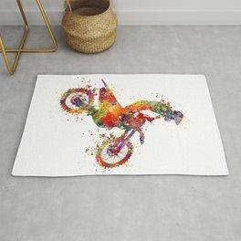 Boy Motocross Colorful Watercolor Motorcycle Art Rug